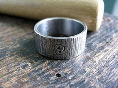 Men's Tree Bark Ring with Initials by BobbiShafferIngram on Etsy, $50.00