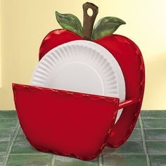 Apple Paper Plate Holder review at Kaboodle & paper plate holders | Apple Decor Wooden Paper Plate Holder from ...