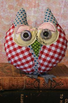 This groovy little owl is named Dexter....he is a quirky...original stitched design.  (Just between us....he has already become one of my