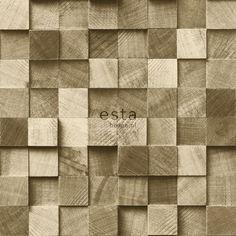 138529 HD vliesbehang stukjes hout donker beige