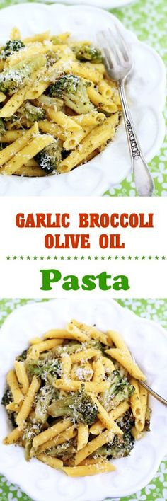 Garlic, Broccoli & Olive Oil Pasta #vegetarian #meatless #pasta