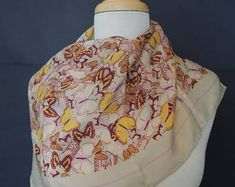 Echo Vintage Square Sheer Silk Scarf Multi Paste Colors l Butterfly Pattern Butterfly Pattern, Scarfs, Shirt Dress, Silk, Trending Outfits, Colors, Unique Jewelry, Mens Tops, Etsy