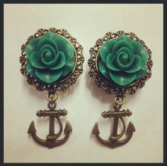Rose Filigree Anchor Ear Plugs by TeacupRose, $28.00
