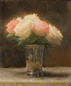 Roses in a Silver Cup - Jacob Collins -2011