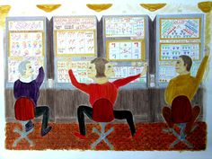 Watercolor on paper, 'Playing the Slots' by Betty G Bailey.