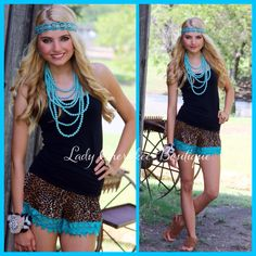 "https://instagram.com/ladycherokeeboutique Wild Hearts Can't Be Broken LEOPARD PRINT SHORTS WITH TURQUOISE CROCHET TRIM Price: $36.00, FREE SHIPPING Qty: 2-Small(2/4), 2-Medium(6/8), 2-Large(10/12) ✨Chandler is wearing Small✨ Please comment ""Sold"", Size, State, and quantity needed, as well as your email to purchase. Also, you must let us know what state you live in, before we can invoice you!  Please note : Invoices are cancelled after 24 hours!!"