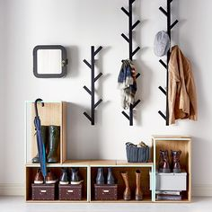 Avoid entryway clutter with open storage boxes for shoes and racks for hats and . Avoid entryway clutter with open storage boxes for shoes and racks for hats and jackets. Ikea Tjusig, Ikea Catalogue 2016, Diy Coat Rack, Coat Racks, Coat Rack With Bench, Wall Coat Rack, Clothes Hanger, Entry Coat Rack, Home Organization