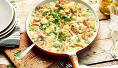 Lecker cremig - Das Rezept für Gnocchi-Champignon-Pfanne mit Erbsen und Hähnchen gibt's bei MAGGI.