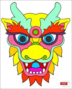 School Coloring Pages, Disney Coloring Pages, Coloring Books, Chinese New Year Dragon, Chinese New Year Crafts, Fantastic Beasts Fanart, Flower Border Png, New Year Art, Dragon Mask