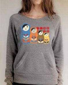 Matryoshka - Russian Nesting Doll Cozy Sweatshirt With Pockets - Free Shipping in the USA!