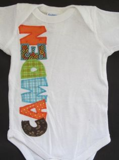 Baby boy personalized onesie size 6M name CAMDEN, ready to ship, by FiestaKidsBoutique $13.65 ON SALE!