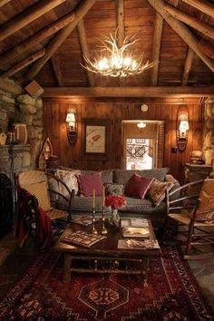 Western red rustic cabin living family room, Looks so cozy. Western red rustic cabin living family room, Looks so cozy. Log Cabin Living, Log Cabin Homes, Log Cabins, Cozy Cabin, Cozy House, Cabin Rug, Diy Log Cabin, Cabin Chic, Home Design