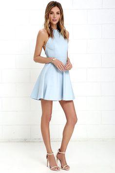 Delightful Surprise Light Blue Skater Dress at http://Lulus.com!
