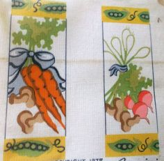 "SET of 2 VEGGIE BANNERS - Needlepoint Canvas  by Gemini - 12 Ct - 4 1/4"" x 12"" #Gemini #Printed"