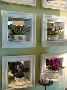 40 Ideas of How To Reuse Tea Cup Artistically. These niches with African violets and mirrors behind them are lovely!Plant in tea cup inside a deep frame - my style. 40 Ideas of How To Reuse Tea Cup Artistically Ideas of How Tea Cup Display, Home Crafts, Diy And Crafts, Deco Cafe, Teacup Crafts, Teacup Decor, Upcycled Home Decor, Repurposed, Easy Home Decor