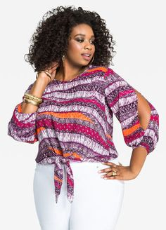 Plus Size Shirts - Split Sleeve Tribal Print Tie Top Short African Dresses, Latest African Fashion Dresses, African Print Fashion, Moda Afro, Batik Fashion, African Attire, Ashley Stewart, Tying Ties, Tribal Top