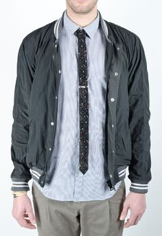 band of outsiders nylon varsity + speckled tie.