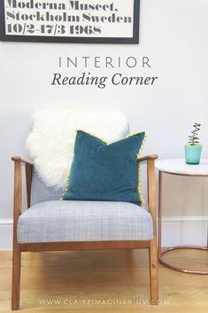 5 small interior details which make all the difference - Claire Imaginarium Mid Century Modern Armchair, Mid Century Modern Living Room, Interior Design Inspiration, Room Inspiration, Teal Armchair, Teal Cushions, Furniture Upholstery, Dream Decor, Reading Nook