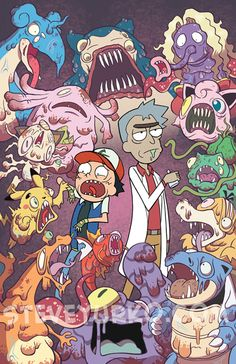 Rick und Morty / Pokémon - Rick and morty - Pokemon Rick And Morty Pokemon, Comic Cat, Rick And Morty Crossover, Rick Und Morty, Rick And Morty Poster, Cartoon Cartoon, Zombie Cartoon, Fan Art, Dope Art