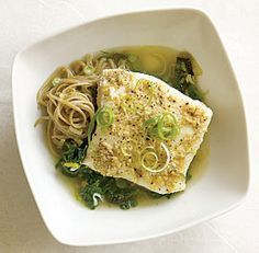 The best recipe I've ever used using Halibut - so yummy and so good for you!  Lemon-Ginger Poached Halibut with Leeks & Spinach