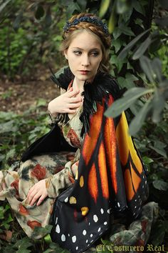 Monarch Butterfly Fairy cape cloak orange and by CostureroReal
