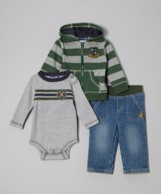 This campus-inspired hoodie and jeans outfit cozies up the little one in big-kid style. The set makes dressing simple with friendly features like an easy-pull zipper on the hoodie and a pull-on elastic waistband on the jeans. Note: Sizes 12 months and up come with a tee instead of a bodysuit.
