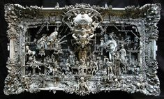 This is a Kris Kuksi sculpture. His work is beautiful in the same, rather disturbing way as Giger. Dark Fantasy, Fantasy Kunst, Assemblage Art, Plastic Model Kits, Fantastic Art, Awesome, Cultura Pop, Image Hd, American Artists