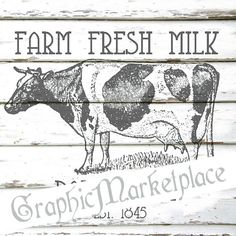 Farm Fresh Milk Cow Instant Download por GraphicMarketplace en Etsy