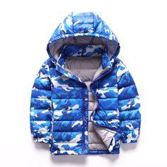 27.99$  Watch here  - 2016 Winter Children Zipper Down Coat Fashion Boys Girls Hooded Camouflage Jacket Outerwear Long-sleeve Keep Warm Kid Clothing