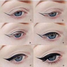 In 6 stappen je eyeliner zetten. Ik hoop dat deze afbeelding de lady's die moeite mee hebben om een mooie strakke eyeliner te zetten een stuk kan helpen.