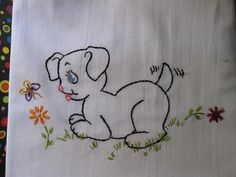 Cutest Little Black Puppy chasing a Purple Butterfly SOOOO Cute  Hand Embroidered Flour Sack Tea Towel