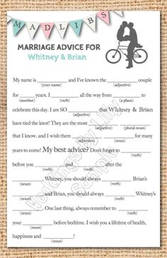 Wedding Mad Libs at the tables... How fun for guests as the wine keeps on flowing... So easy to do in a word doc.