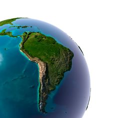 earth with translucent water in the oceans and the detailed topography of the continents. detail of the earth with south america. isolated on white. Islamic Wall Decor, Islamic Gifts, Ramadan Decorations, South America, Maps, Royalty Free Stock Photos, Oceans, Continents, Water