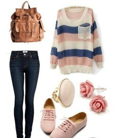 Cute pink casual outfit for college and uni students ready for fall