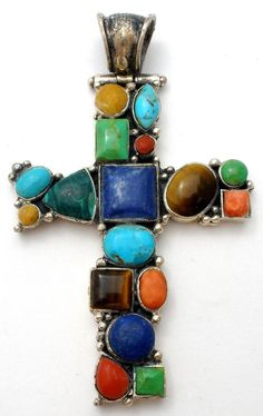 This is a large sterling silver slide pendant with gemstones of turquoise, coral, lapis, malachite, rhodochrosite, tiger's eye, and gaspeite. | eBay!