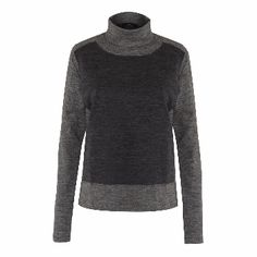 AV London Two Tone Grey Polo Neck Jumper: High neck two tone top in luxurious light weight grey Italian merino wool. Slightly loose fit. A smart wardrobe staple to keep you warm and stylish.