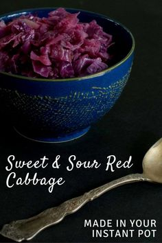 Sweet and Sour Red Cabbage Made Fast in Your Instant Pot - great as a side dish or throw in some tofu and tempeh and make it a meal! Instant Pot Pressure Cooker, Pressure Cooker Recipes, Pressure Cooking, Whole Food Recipes, Vegan Recipes, Vegan Food, Paleo Meals, Food Food, Free Recipes