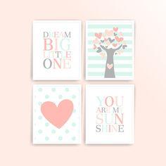 Printable Nursery art Peach Light Coral Mint Grey Tree