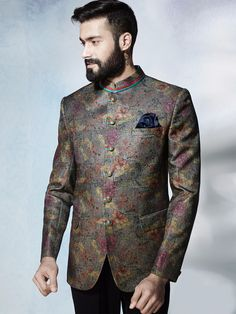 Shop Grey terry rayon classy jodhpuri suit online from India. Wedding Dresses Men Indian, Wedding Dress Men, Wedding Men, Wedding Suits, Indian Men Fashion, Mens Fashion Suits, Mens Suits Online, Blazer Outfits Men, Indian Groom Wear