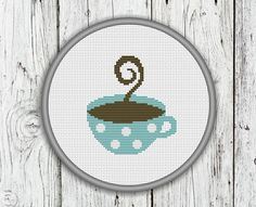 Cup Of Coffee Counted Cross Stitch Pattern  PDF by CrossStitchShop