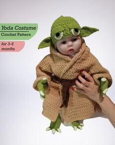 Yoda Toddler Costume Crochet PDF Pattern, Baby Yoda Costume, Toddler Pattern, Yoda Costume Crochet P Crochet Sheep, Crochet Easter, Crochet Toddler, Crochet For Boys, Easy Crochet, Crochet Baby, Crochet Santa, Unique Crochet, Halloween Bebes