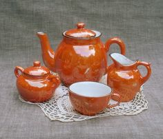 Vintage Orange Luster Child Tea Set  Germany by WildrosePrimitives, ✿ pinned by Colette's Cottage- ✿