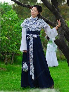 Women's Cotton Linen Skirt Half-sleeve Ruqun dress Tang Dynasty Hanfu Clothing - USD $ 190.00