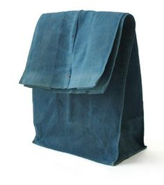 """ilovereveiller: """" These fabric bags, obviously inspired by the traditional paper lunch sack, are coated with a protective layer of beeswax and have a built-in wire seam so they stay closed when rolled. How To Make Buttons, Fabric Bags, Blue Tones, Tote Handbags, Cotton Linen, Fashion Bags, Indigo, Jeans, Design Inspiration"""