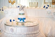 Royal Blue Gold Wedding Decor  For all the details, check out http://www.weddinggirl.ca/blog/2013/03/18/royal-blue-gold-wedding-port-credit-mississauga/