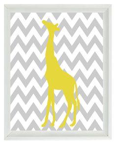 Giraffe Chevron Nursery Wall Art Print - Gray Yellow  Decor - Children Kid Baby - Wall Art Home Decor 8x10 Print. $15.00, via Etsy.