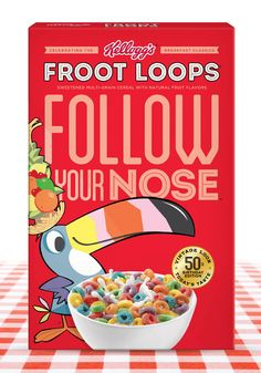 Kellogg Retro-inspired Packaging for Frosted Flakes, Fruit Loops and Rice Krispies.