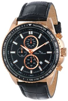 Lucien Piccard Men's LP-12552-RG-01-BK Cartagena Analog Display Japanese Quartz Black Watch ** Learn more by visiting the image link.