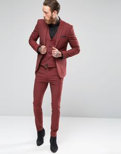 Find the best selection of ASOS Super Skinny Suit In Dark Red. Shop today with free delivery and returns (Ts&Cs apply) with ASOS! Mens Fashion Wedding Suits, Best Mens Fashion, Wedding Outfits, Wedding Attire, Dark Red Suit Men, Classic Outfits, Stylish Outfits, Men's Outfits, Fashion Outfits