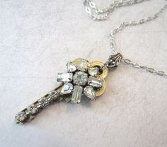 Key Necklace with Vintage Rhinestone by MySalvagedTreasures
